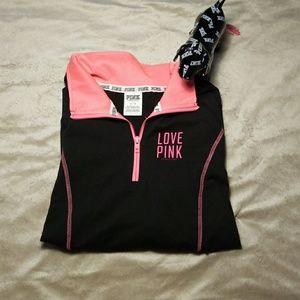PINK active wear jacket sz s black
